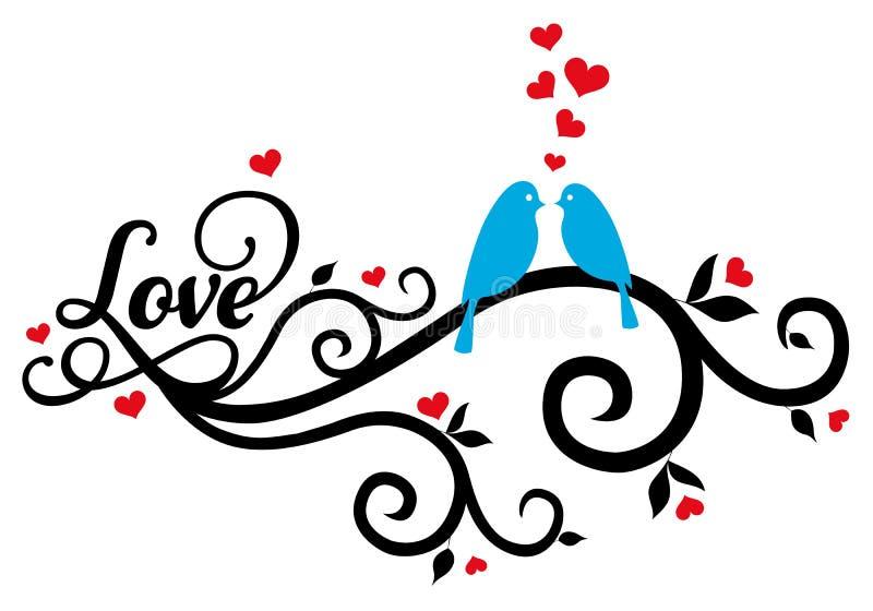 Liefdevogels met rode harten, vector vector illustratie