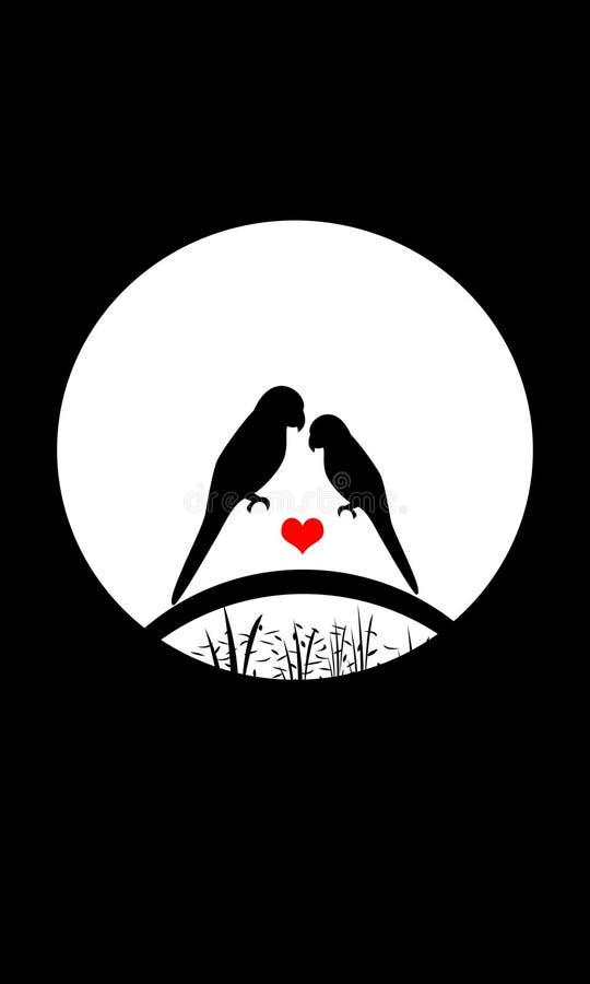Liefdevogels met zwarte achtergrond stock illustratie