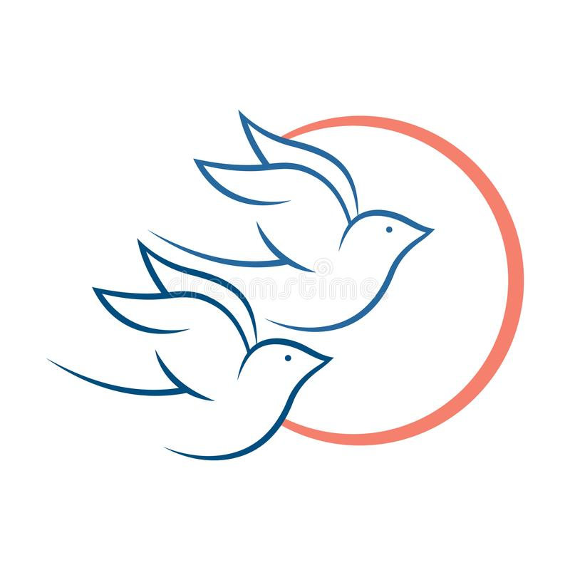 Liefdevogels vliegen, geschikt voor embleem vector illustratie