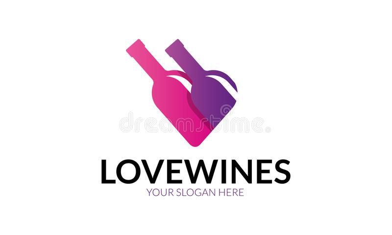 Liefdewijn Logo Template vector illustratie