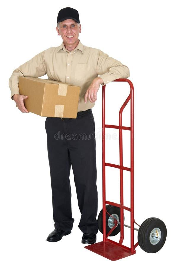 Lieferbote, ziehend, Fracht, Verschiffen, Paket um stockbilder