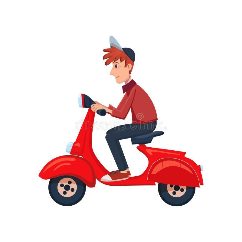 Lieferer, der einen Roller reitet Schneller Zustelldienst durch Kurier Vektorzeichentrickfilm-figur-Illustration Getrennt auf Wei lizenzfreie abbildung