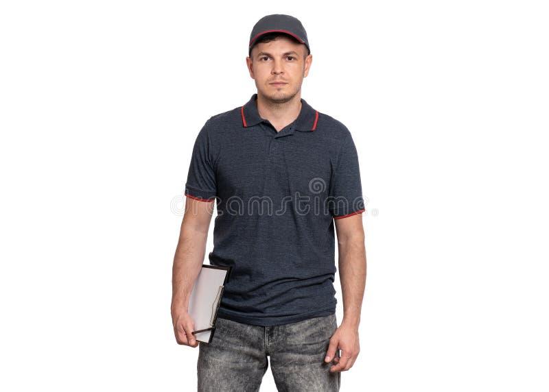 Lieferer in der Kappe auf Weiß stockfotos