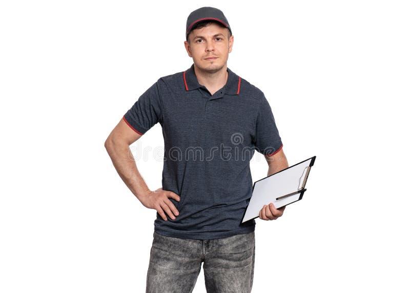 Lieferer in der Kappe auf Weiß lizenzfreie stockfotografie