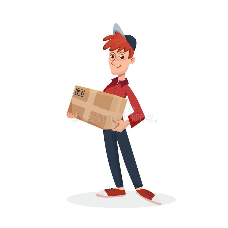 Lieferer, der Papppaketkasten hält Schneller Zustelldienst durch Kurier Vektorzeichentrickfilm-figur-Illustration stock abbildung