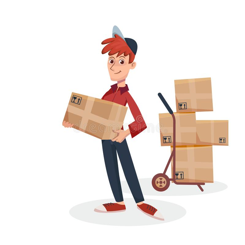 Lieferer, der Papppaketkasten mit Lieferungshandwagen mit Kästen auf Hintergrund hält Schneller Zustelldienst vorbei vektor abbildung
