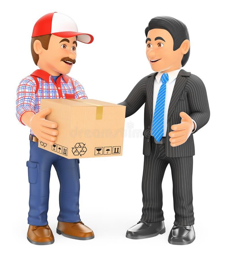Lieferer des Kuriers 3D, der ein Paket an einen Geschäftsmann liefert lizenzfreie abbildung
