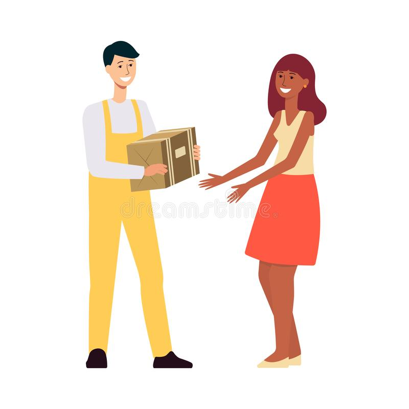 Lieferer im Overall, der braunen Kasten zur Frauenkarikaturart gibt lizenzfreie abbildung