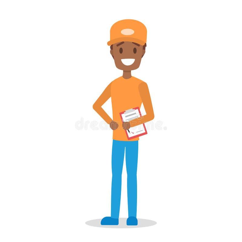 Lieferer Kurier in der orange und blauen Uniform vektor abbildung