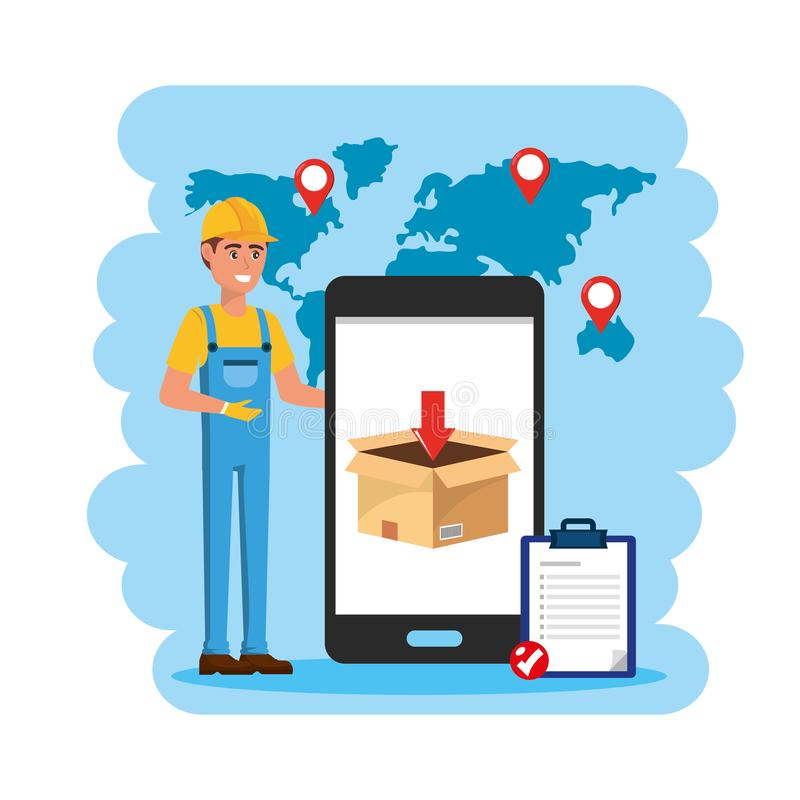 Lieferer mit Smartphoneservice und -Check-Liste vektor abbildung