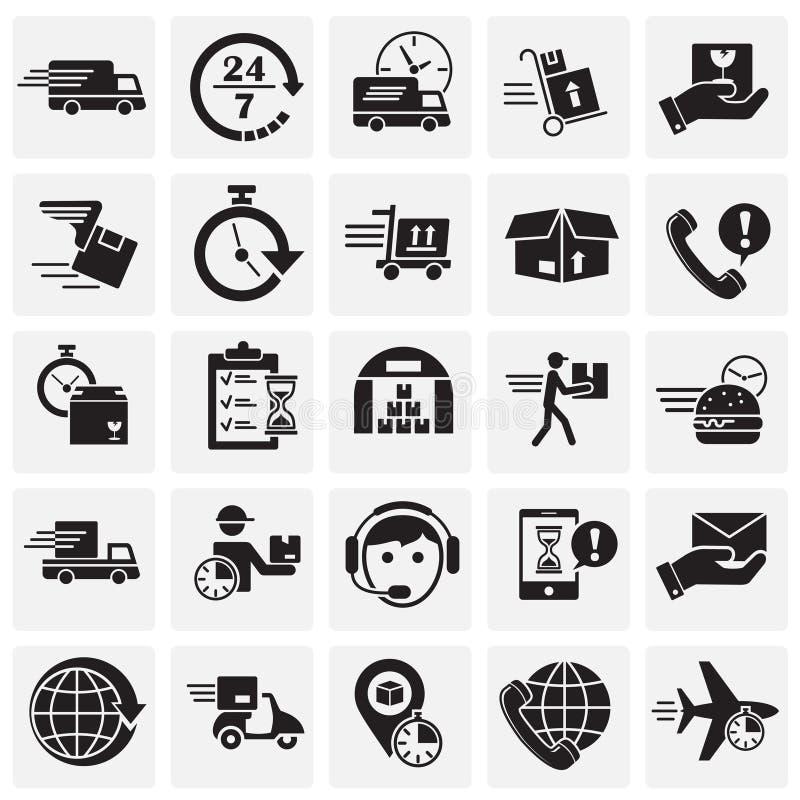 Lieferung bezog sich die Ikonen, die auf sqaures Hintergrund f?r Grafik und Webdesign eingestellt wurden Einfaches Vektorzeichen  lizenzfreie abbildung