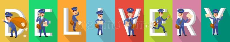 LIEFERUNG Bild eingestellt mit Briefträger Characters stock abbildung