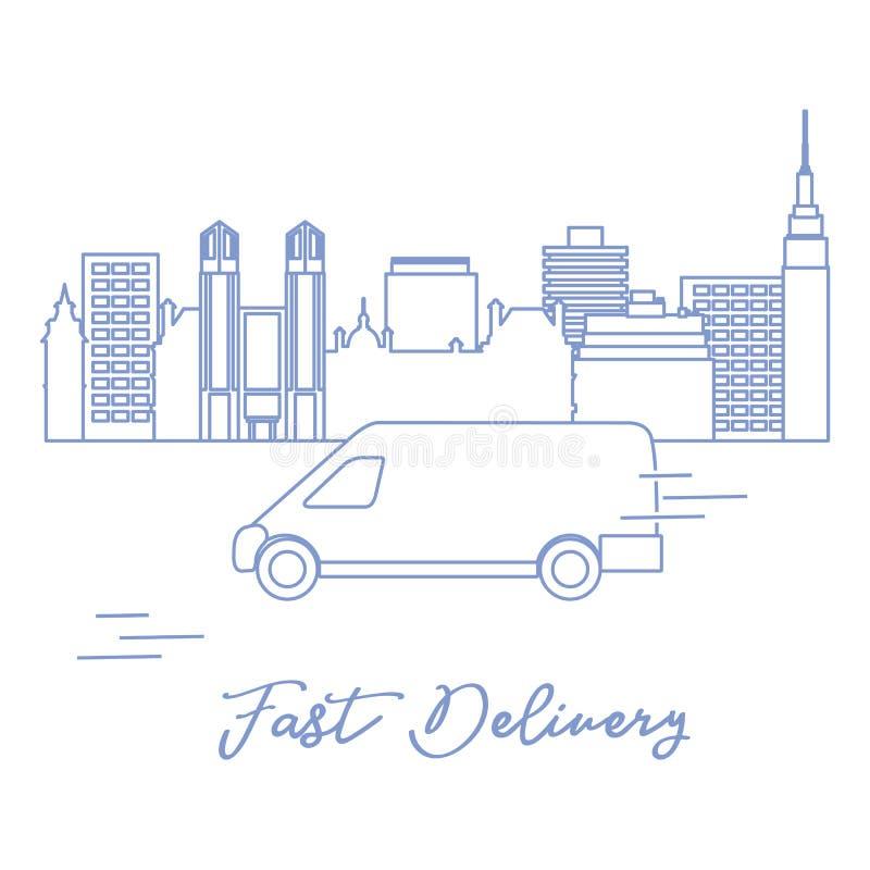 Lieferung mit dem Auto in der Stadt lizenzfreie abbildung