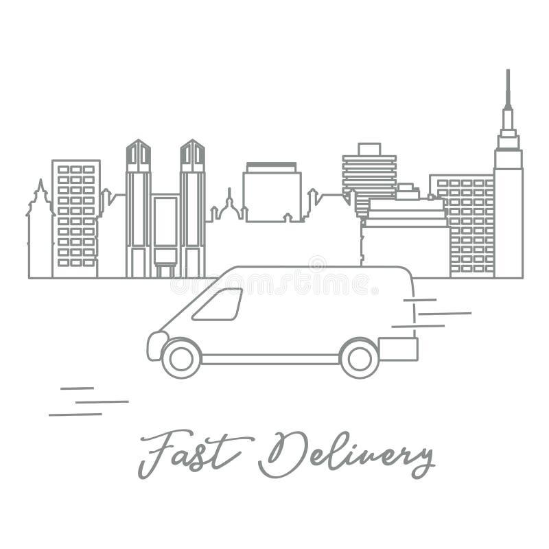 Lieferung mit dem Auto in der Stadt vektor abbildung