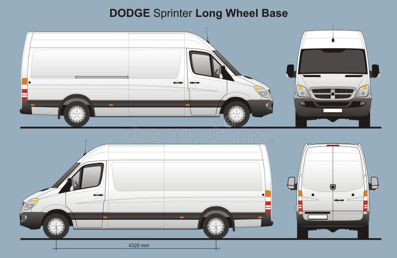 Lieferung Van Blueprint Dodge-Sprinter-LWB stock abbildung