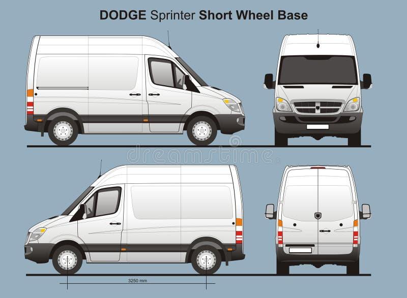 Lieferung Van Blueprint Dodge-Sprinter-SWB lizenzfreie abbildung