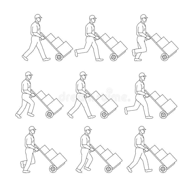 Lieferungs-Arbeitskraft, die Handwarenkorb-Weg-Reihenfolgen-Zeichnung drückt vektor abbildung