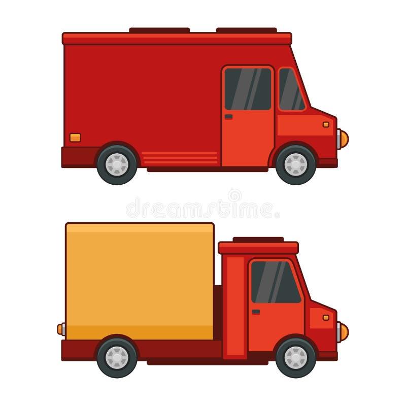 Lieferungs-Fracht-Auto eingestellt auf weißen Hintergrund Vektor lizenzfreie abbildung