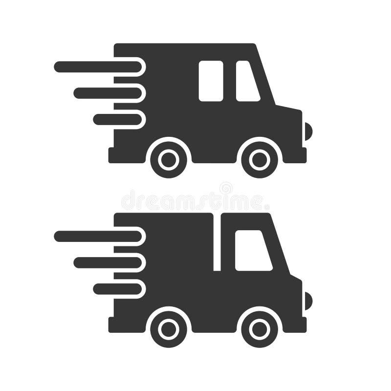 Lieferungs-Fracht-Auto-Ikonen eingestellt auf weißen Hintergrund Vektor stock abbildung