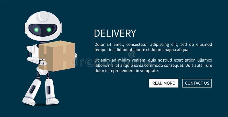Lieferungs-Roboter-und Kasten-Netz-Vektor-Illustration lizenzfreie abbildung