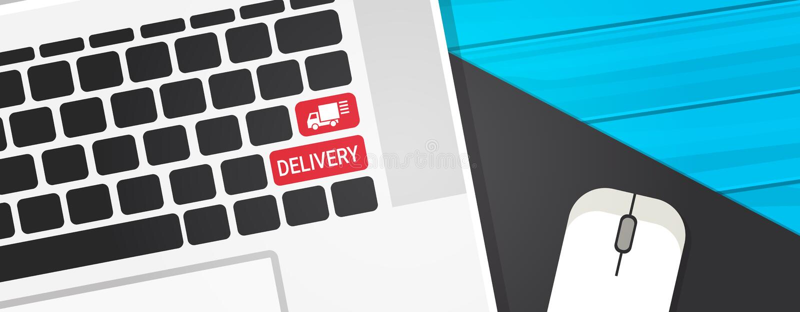 Lieferungs-Schlüssel auf Computer-Tastatur-schnellem Kurier-Service Button With-LKW Logo Icon Horizontal Banner lizenzfreie abbildung