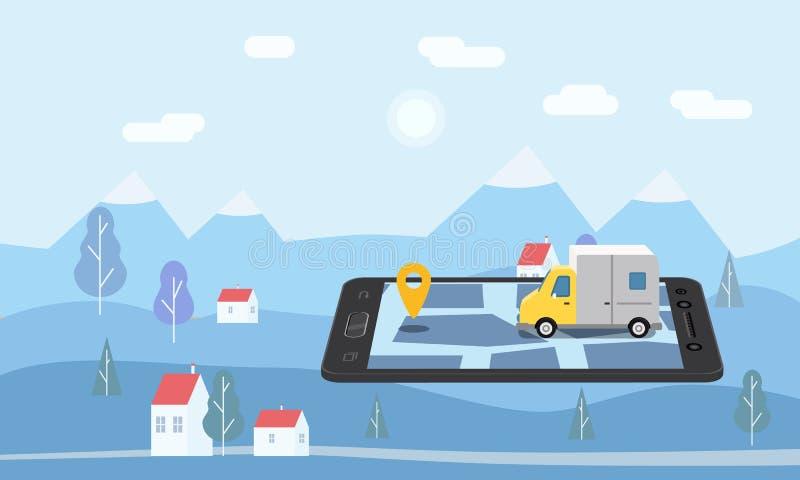 Lieferungs-Van Express-Konzept Prüfung Zustelldienst App am online aufspürenden Handy Schneller Lieferwagen an vektor abbildung