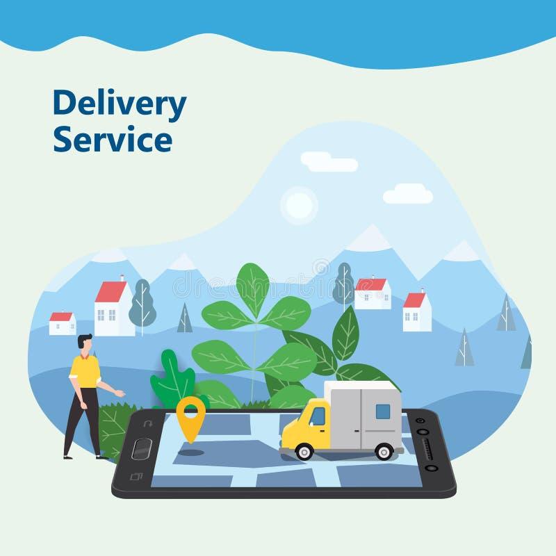 Lieferungs-Van Express-Konzept Prüfung Zustelldienst App am online aufspürenden Handy Schneller Lieferwagen an stock abbildung