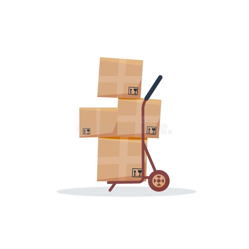 Lieferungshandwagen mit Kästen Versandservice-Logistik, Speicherservicekonzept lokalisiertes Ikonenvektor-Illustrationsdesign vektor abbildung