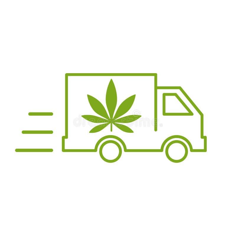 Lieferungshanf Illustration einer Lieferwagenikone mit einem Marihuanablatt vektor abbildung