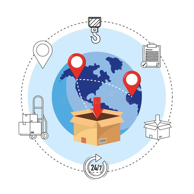 Lieferungskasten-Paketservice auf der ganzen Welt lizenzfreie abbildung