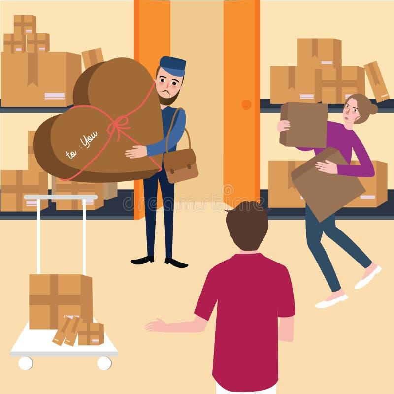 Lieferungsteam und -manager, die mit Kasten im Regallagerversandspeicher arbeiten stock abbildung