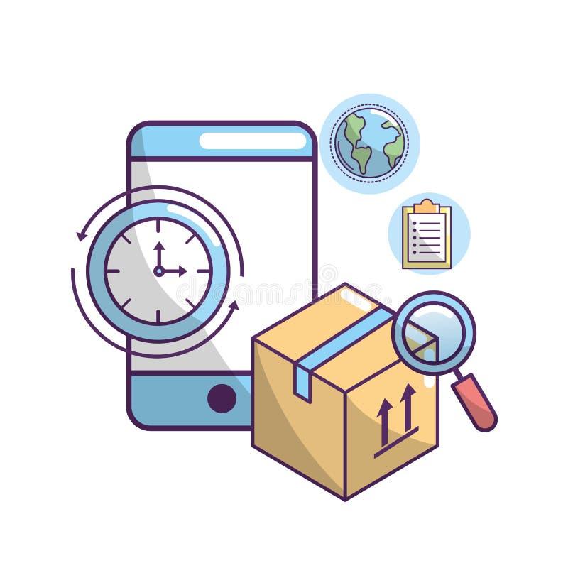 Lieferungstransport zum Paketbestellungsservice lizenzfreie abbildung
