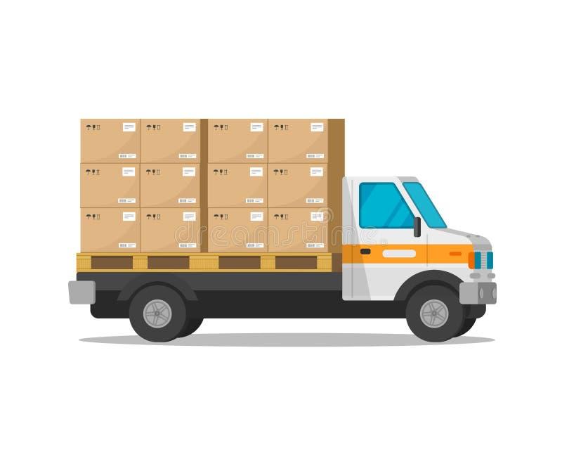 Lieferwagen lokalisiert mit Paketfrachtkasten-Vektorillustration, flachem Karikaturfrachtpackwagen oder Kurierlastwagen lizenzfreie abbildung