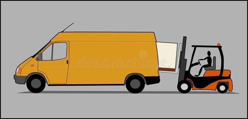 Lieferwagen mit Gabelstapler stock abbildung