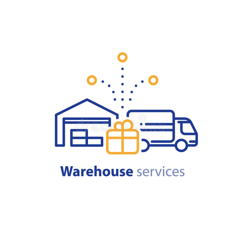 Lieferwagenikone, Bestellungsversand, Lagerhausdienstleistungen, Verlegungskonzept stock abbildung