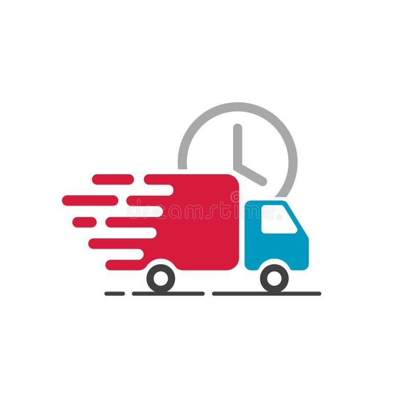 Lieferwagenikonenvektor, bewegender Frachtpackwagen, schneller Versand lizenzfreie abbildung