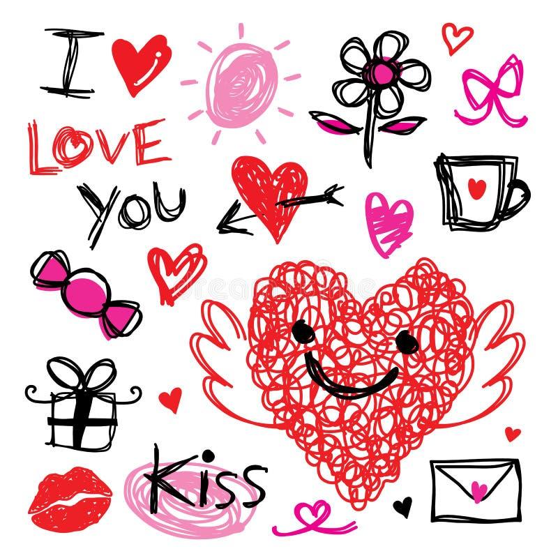 Liefje I houdt van u Valentine Heart Cute Cartoon Vector royalty-vrije illustratie