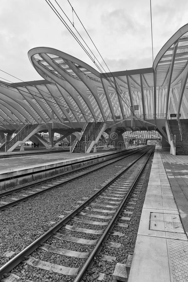 LIEGE, BELGIUM - December 2014: Detailed roof of the Liege-Guillemins railway station, designed by Santiago Calatrava. Black and royalty free stock photography