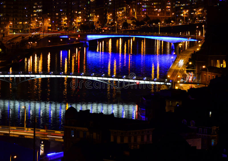 Liege Belgium by night. Panoramic view of Liege Belgium by night stock images