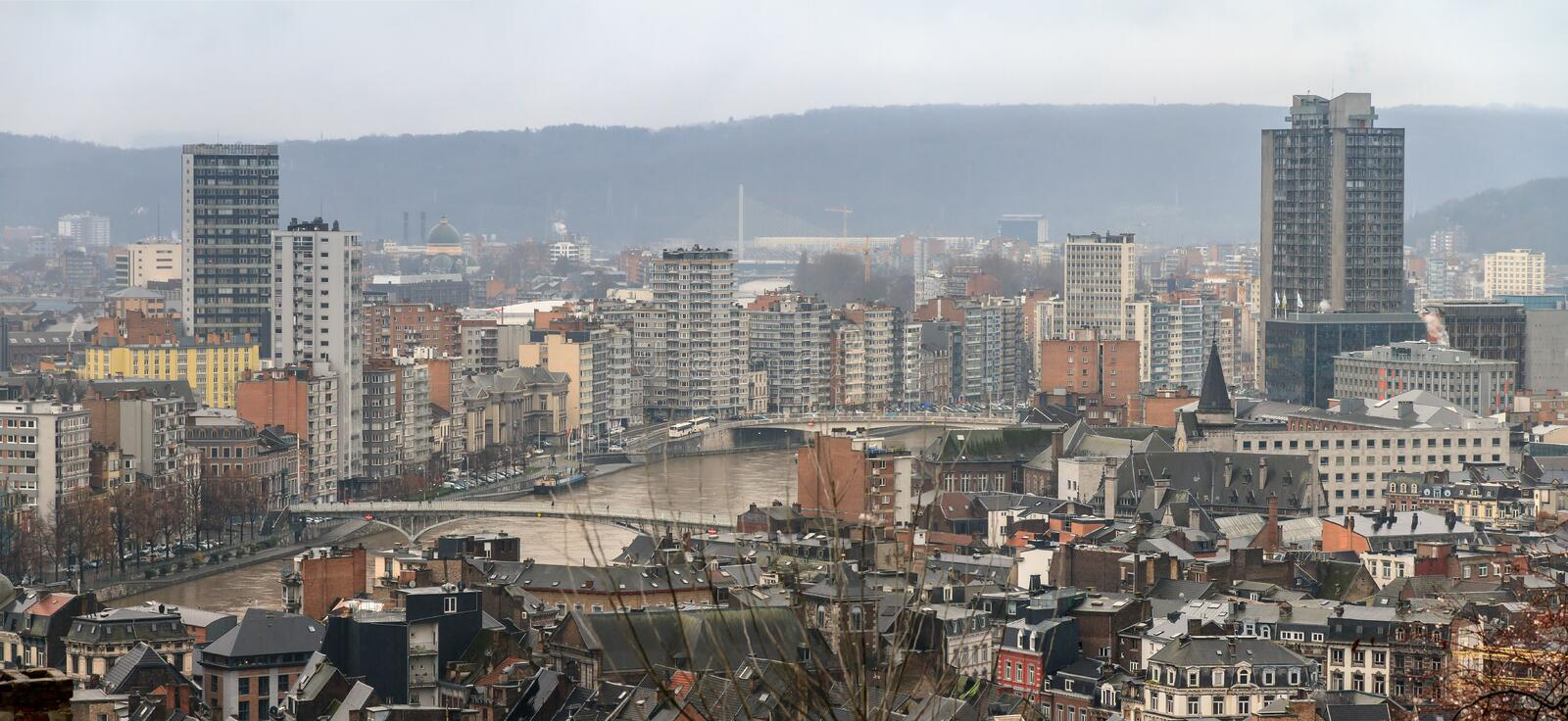 Liege cityscape panorama royalty free stock image