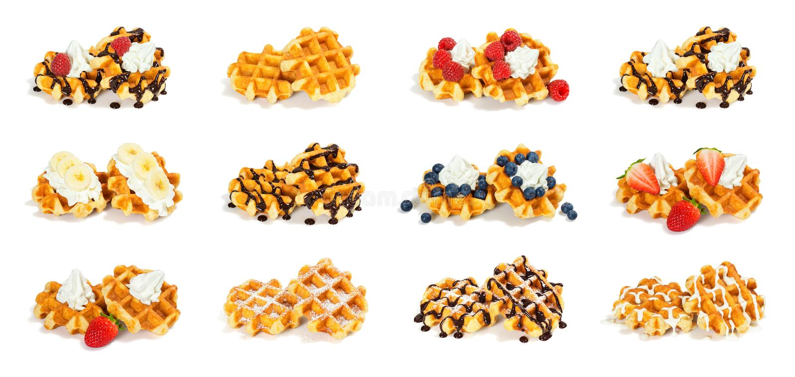 12 Liege Style Belgian Waffles with Toppings on White Background. A collection of 12 assorted pairs of Liege style Belgian waffles, each with different toppings stock photography