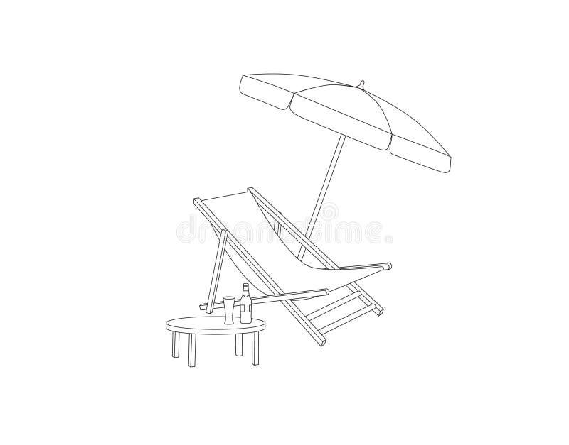 Liege, Tabelle, Sonnenschirm lokalisiert Deckchair-Entwurfszeichnung Klappstuhl, Tabelle, Sonnenschirmsommer sunbath Strandurlaub lizenzfreie abbildung