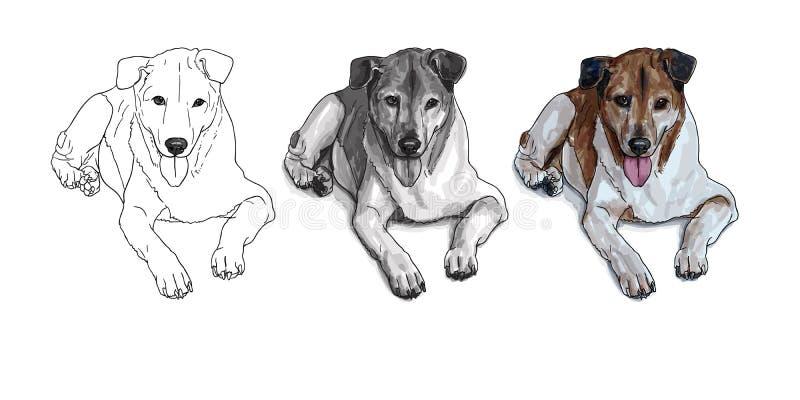 zeichnung des traurigen streunenden hundes vektor