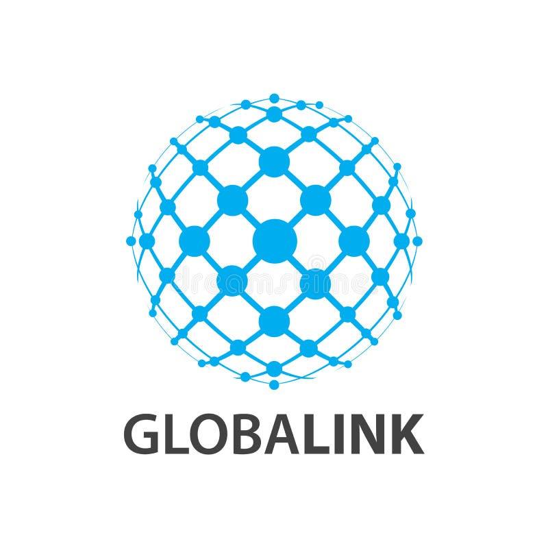 Lien global Ligne conception de l'avant-projet du monde de globe de logo Élément graphique de calibre de symbole illustration stock