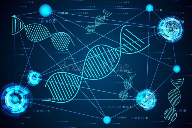 Lien numérique d'ADN de concept de la science abstraite de pointe images libres de droits