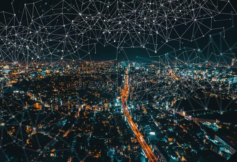Liens avec la vue aérienne de Tokyo, Japon photo libre de droits