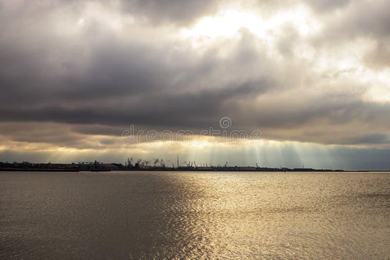 Liepaja seaport with port cranes. Liepaja, Baltic sea, seaport with port cranes royalty free stock photography
