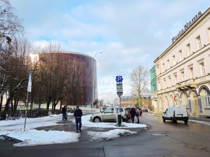 Liepaja grodzka ulica, Latvia obrazy royalty free