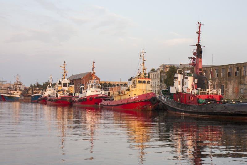 Liepaja Port. Ships in Liepaja port in evening royalty free stock image