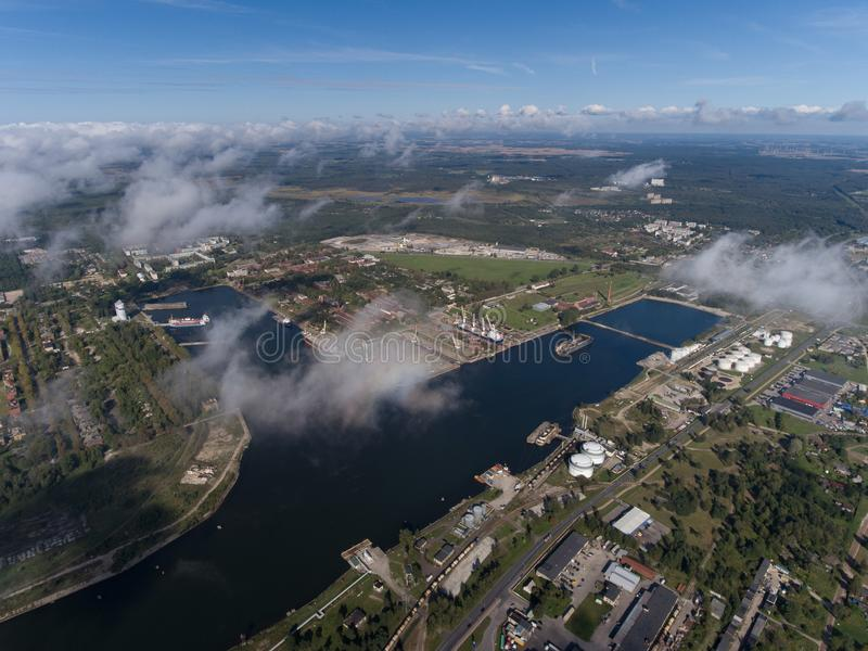 Liepaja port, view from above. Aerial view. n. Liepaja port, view from above. Aerial landscape royalty free stock photo